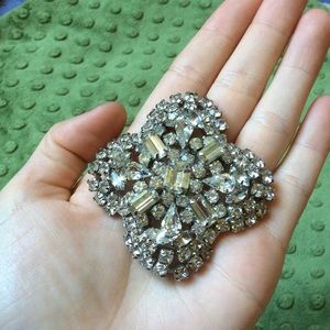 Rhinestone Clover Vintage Brooch Snowflake…